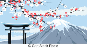 Mount Fuji clipart Of EPS with Blossoms Vector