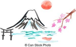 Mount Fuji clipart Fuji illustration Vector watercolor of