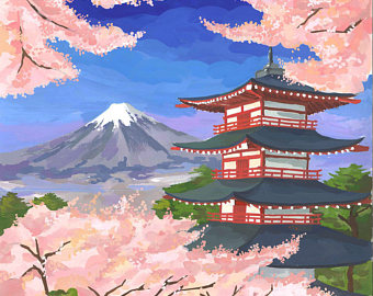 Mount Fuji clipart painting #14