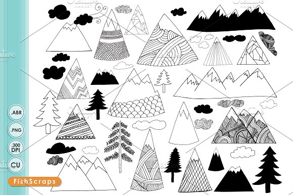 Mountain clipart hand drawn On Market Cliparts Drawn Clip