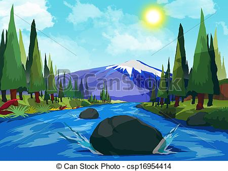 Mountain clipart mountain view Clipart Mountain of River Clipart