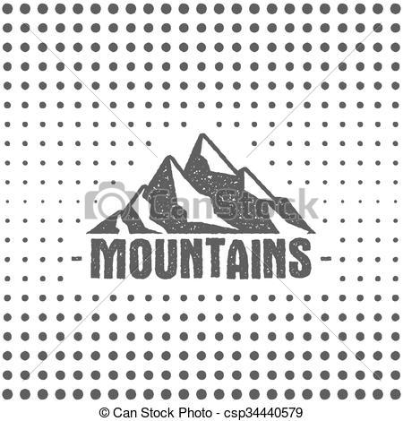 Mountain clipart retro #3