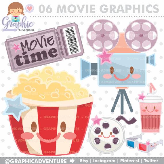 Popcorn clipart movie party Movie Clipart Clipart Cinema Kawaii