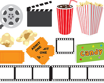 Theatre clipart colorful Movie movies clipart night Etsy