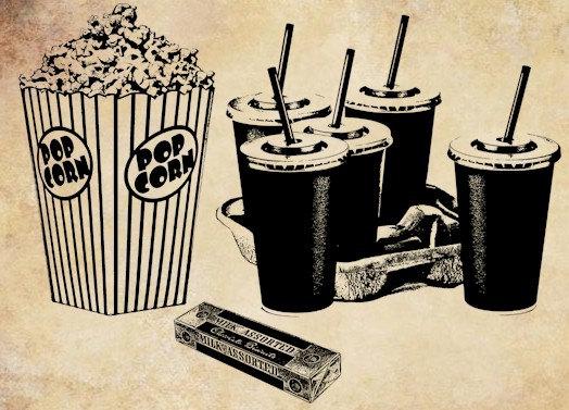 Popcorn clipart vintage Clip printable Download food movie