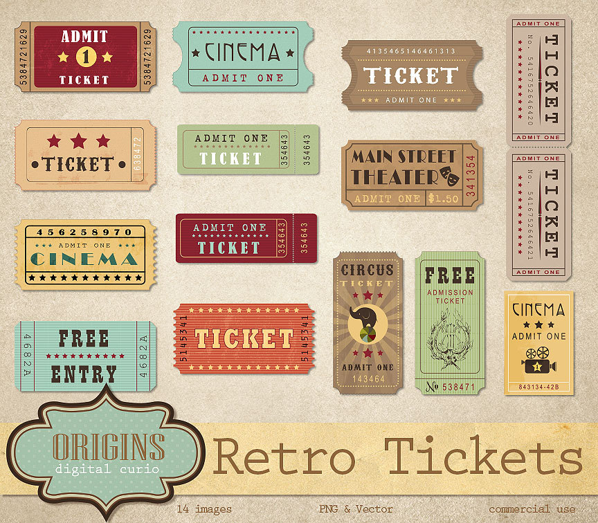 Carousel clipart ticket Movie Retro Tickets Movie Circus