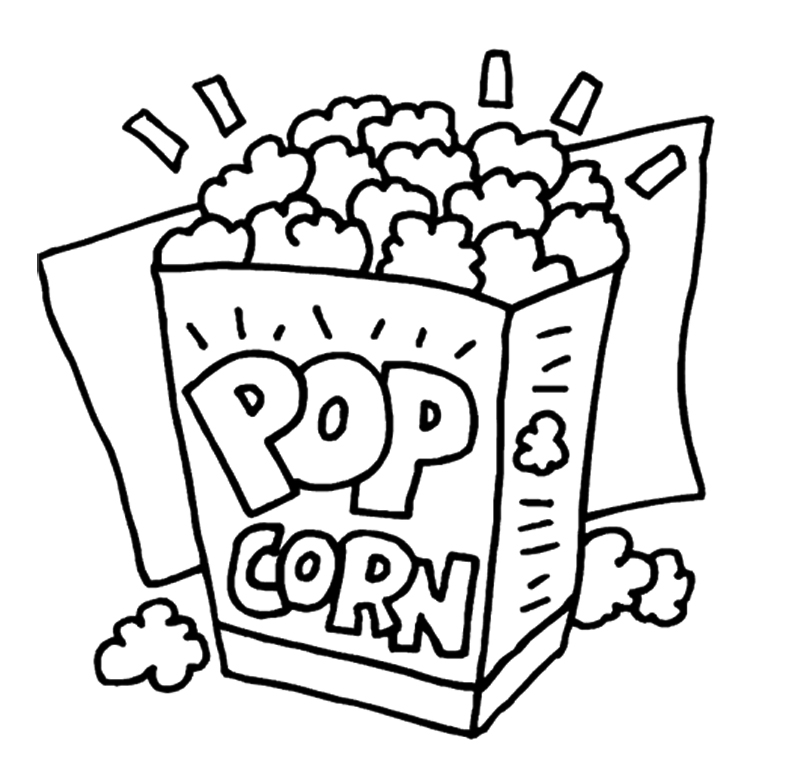 Popcorn clipart black and white 3 images clipart kernel Free
