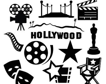 Movie clipart silhouette SVG movie Hollywood clapboard svg