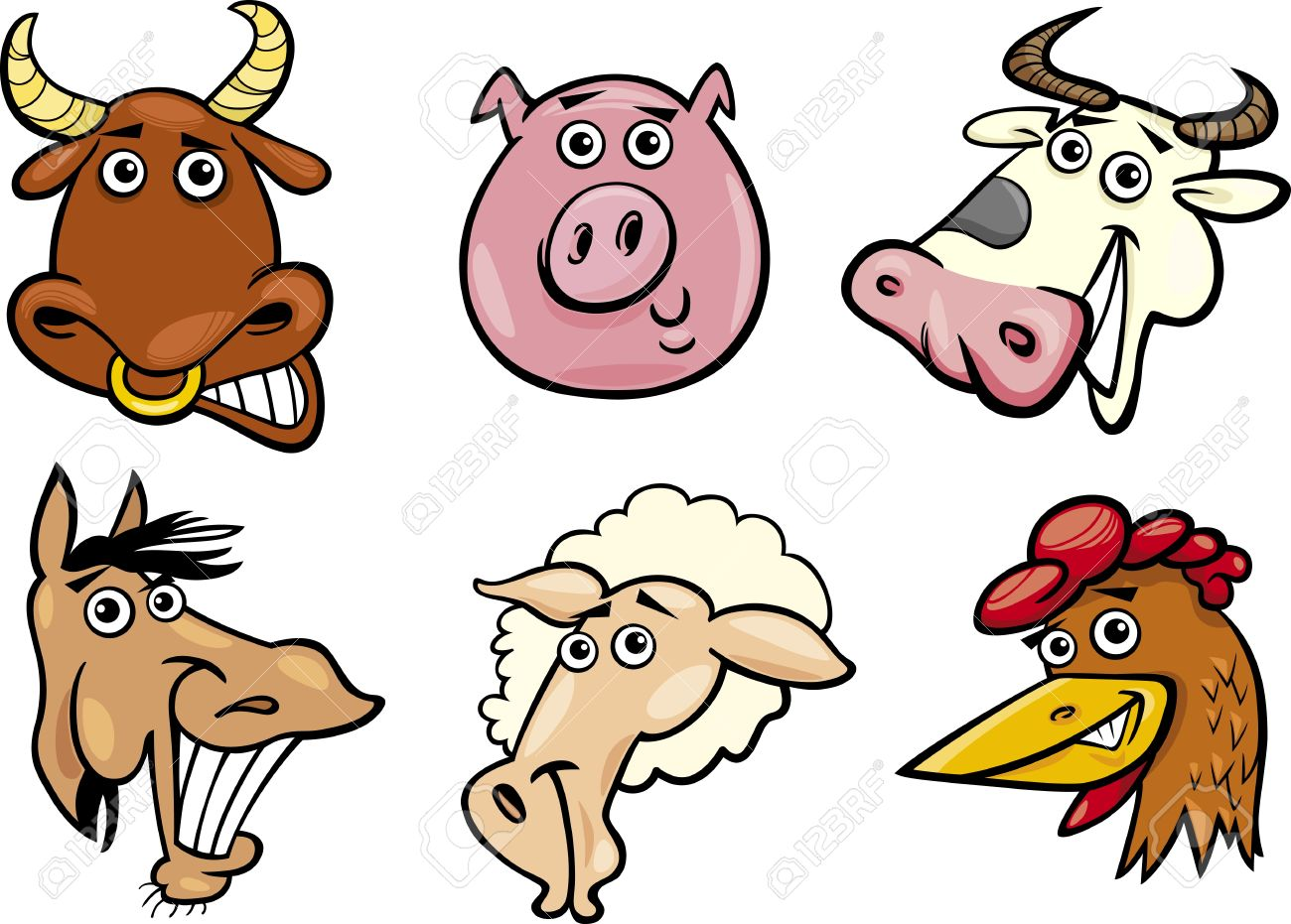 Moving clipart farm animal Heads cliparts Funny Farm Clipart