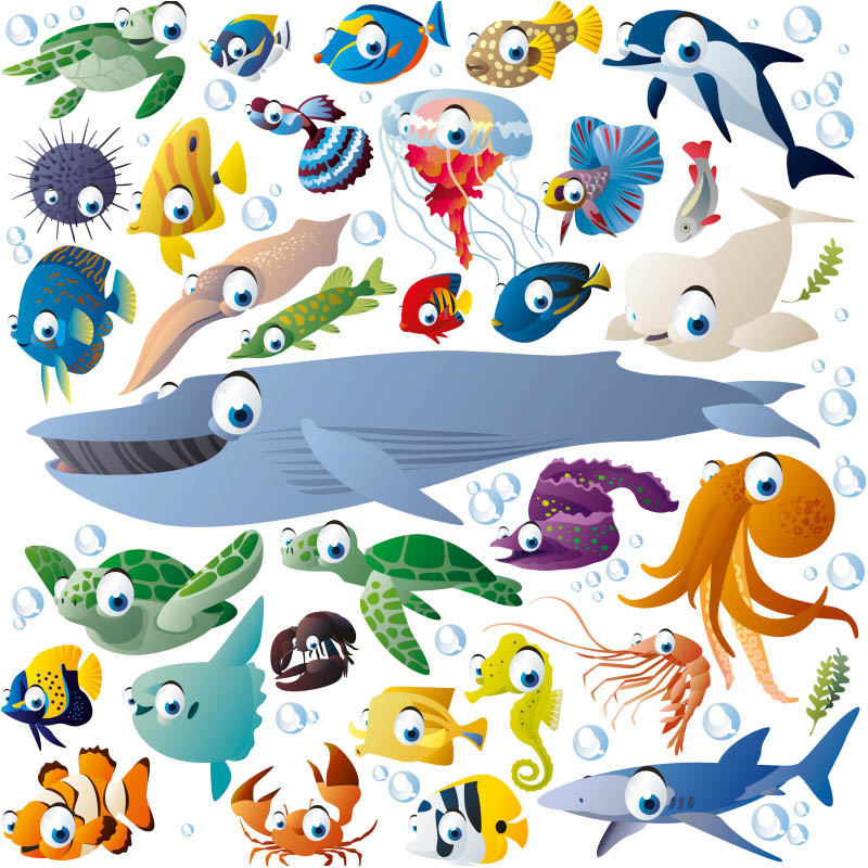 Drawn sea life animated Vector Funny creatures cartoon Stuff
