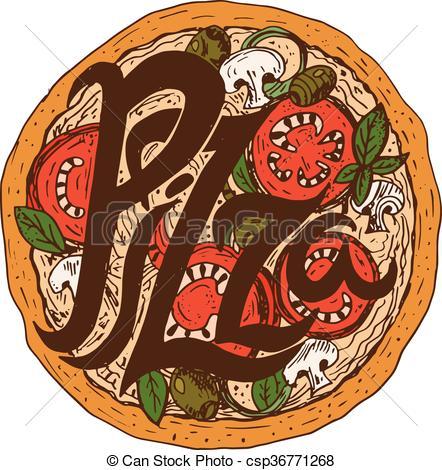 Mozzarella clipart tomato Oregano Illustration of drawn pizza