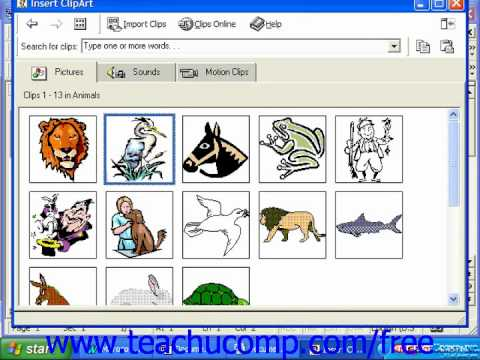 Amonday clipart word Word Clip Lesson 2003 Microsoft
