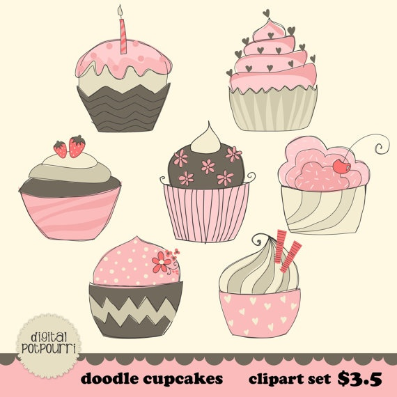 Muffin clipart candies Set muffins pink by clipart