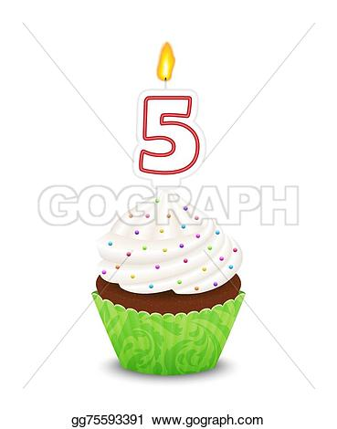Muffin clipart five Number Clipart cupcake Birthday Art