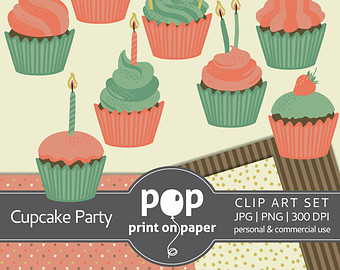 Muffin clipart green cupcake Birthday cupcake toppers Love Valentine