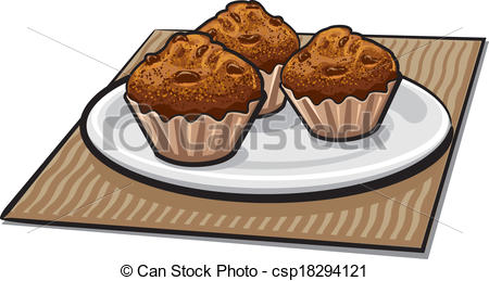 Muffin clipart plate Of Vector  a muffins