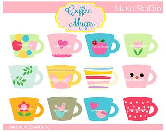 Mug clipart digital Coffee INSTANT Download Art Cups