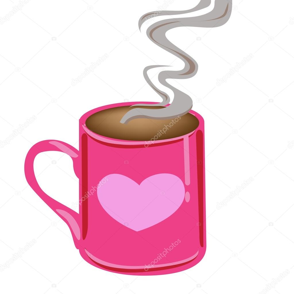 Mug clipart pink Illustration with hot – coffee