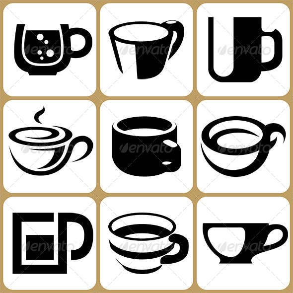 Mug clipart set objects GraphicRiver Cup alisher9 Cup Objects