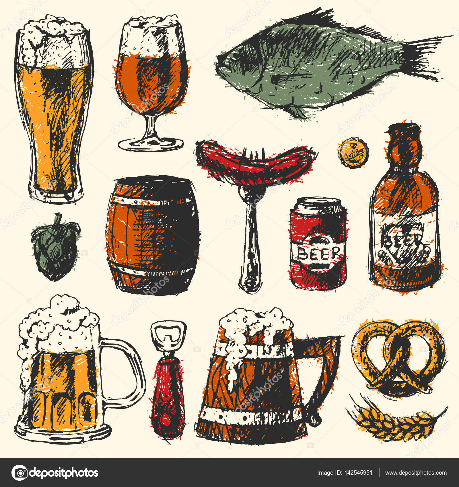 Mug clipart set objects Used  brewery hop objects