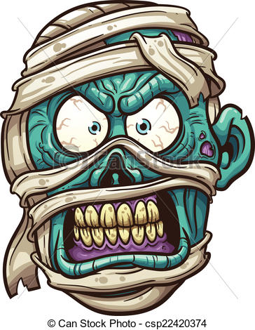 Zombie clipart cartoon Mummy face Illustration Angry csp22420374