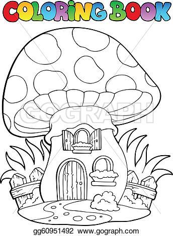 Mushroom clipart coloring book Book Art Vector mushroom Stock