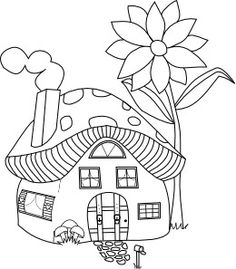Mushroom clipart coloring book House Kids Clipart With Outlined