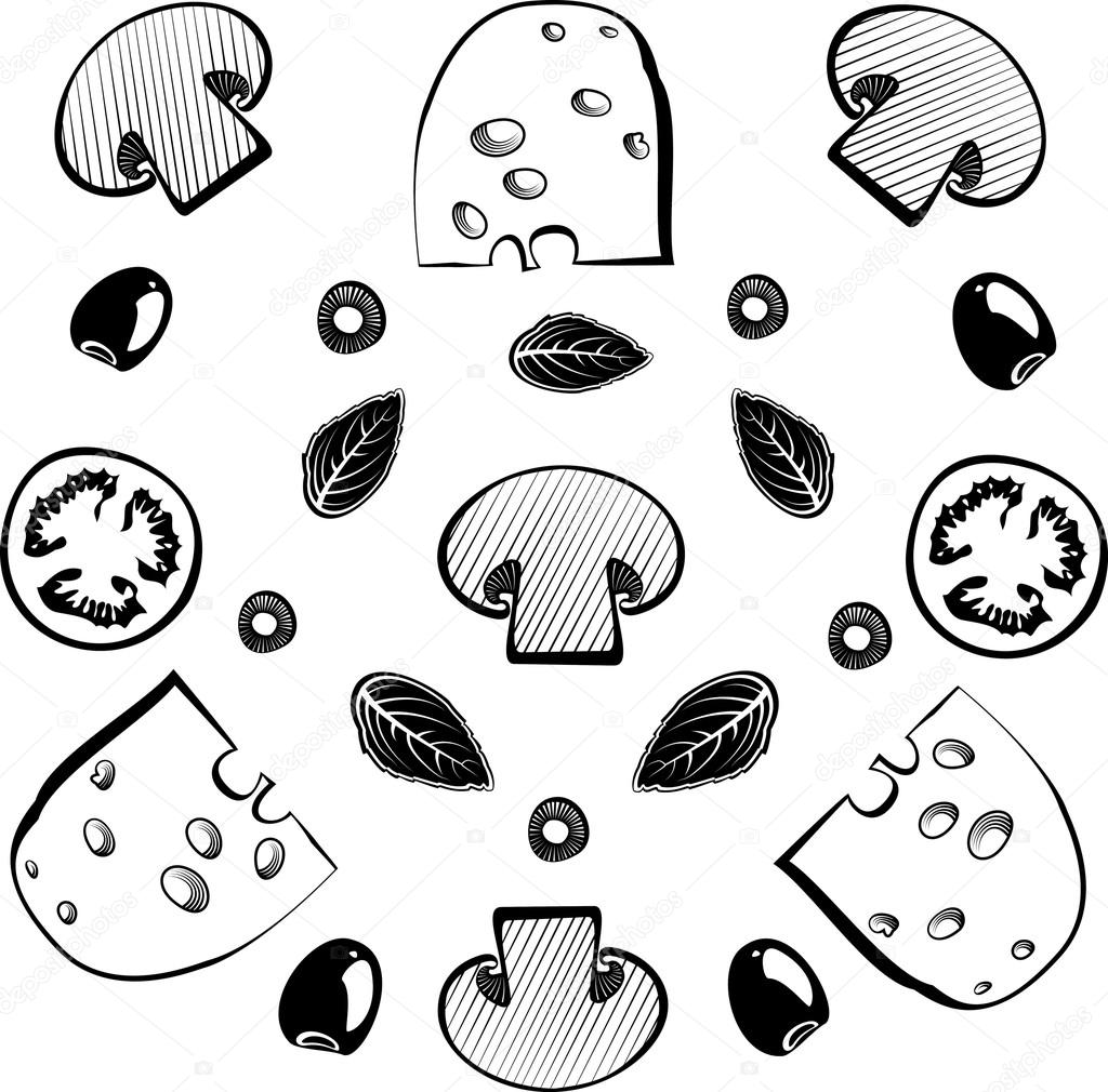 Mushroom clipart topping Labels with — mushrooms engraving