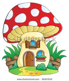 Mushroom clipart village Page gnomes two vector House