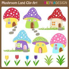 Mushroom clipart village Mushroom Colorful Download Mushrooms Land
