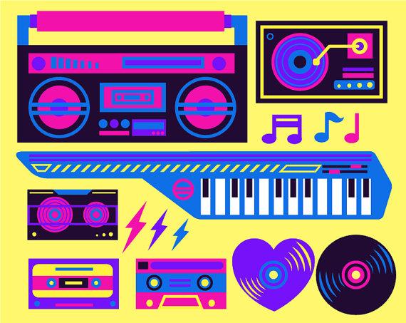 Neon clipart 80's #15