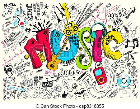 Drawn musical doodle background Csp8318355 background Music Doodle illustration