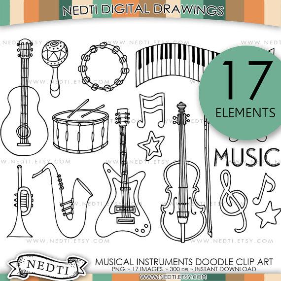 Drawn instrument doodle Saxophone Clip Violin Doodle Cello