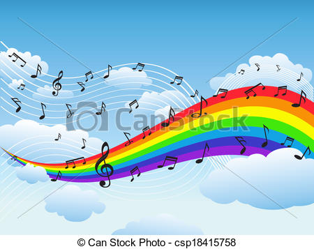 Music clipart rainbow Music note of background Vector
