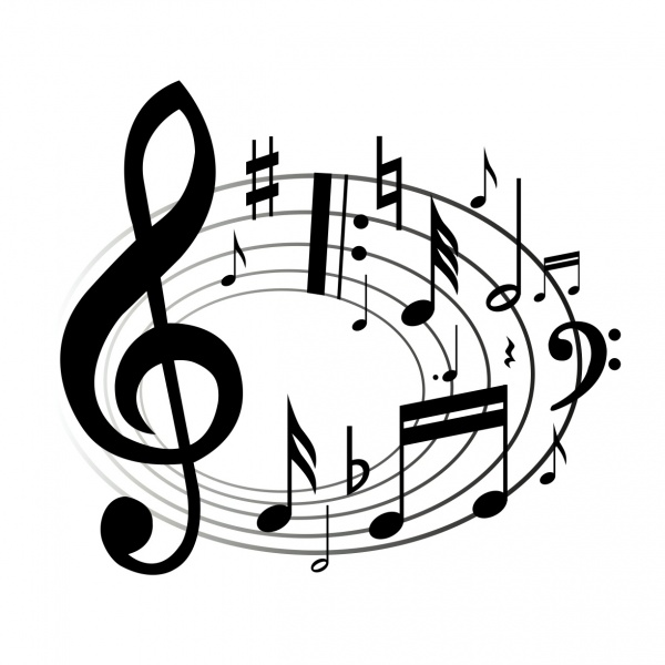 Drawn music notes transparent white Notes music clip image musical
