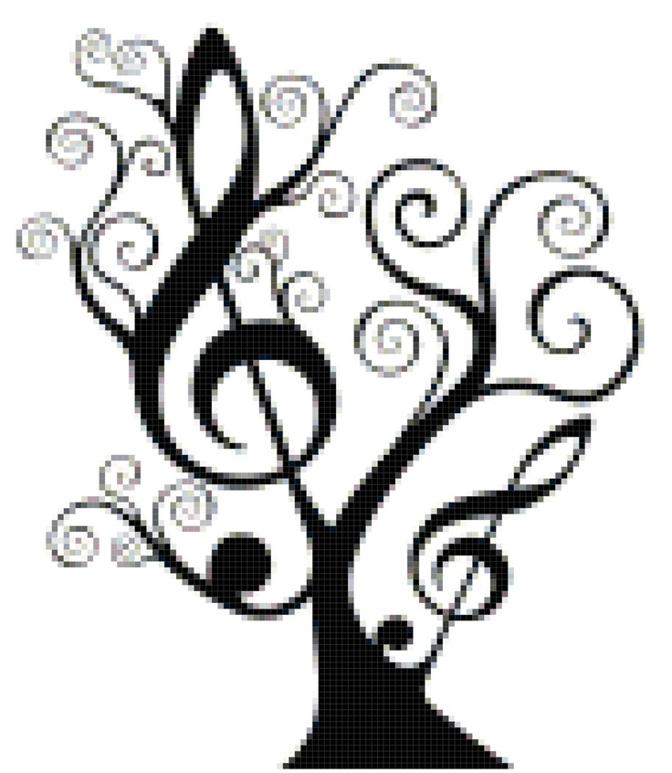 Music Notes clipart cross White Music  Stitch Clef…