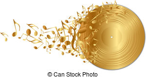 Music Notes clipart golden Clip disc of record music