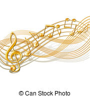 Music Notes clipart golden Vector musical of staff staff