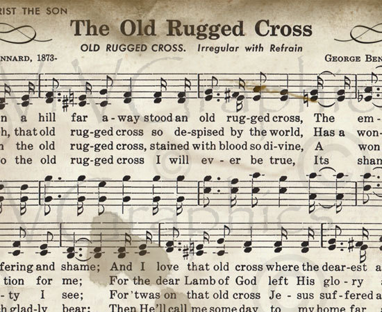 Sheet Music clipart old Clipart Hymn Cross Download Vintage