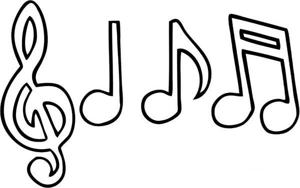 Music clipart outline Clipart notes Notes Coloring Color