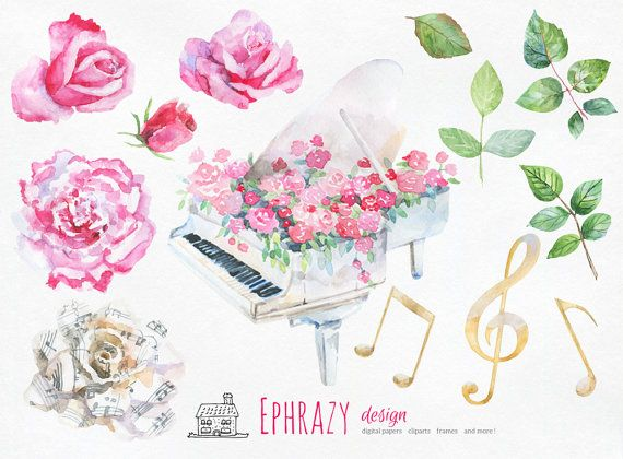 Piano clipart pink Floral art clipart Rose clipart