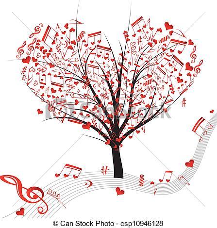 Music hearts Vector tree tree
