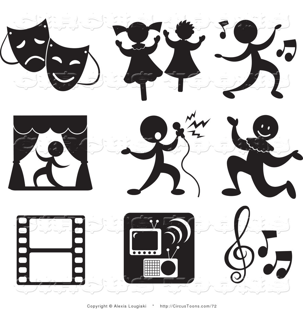 Theatre clipart black and white Icons Music in Set in