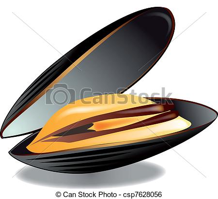 Mussels clipart happy clam Stock  vector white background