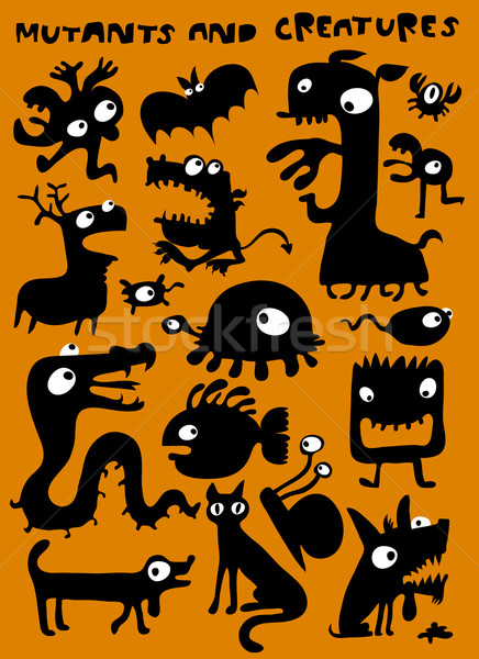 Mutant clipart orange monster Vector comp illustration Add and