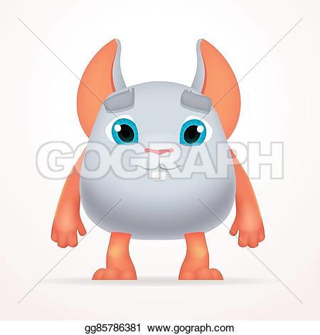 Mutant clipart orange monster Cartoon fluffy fun character for