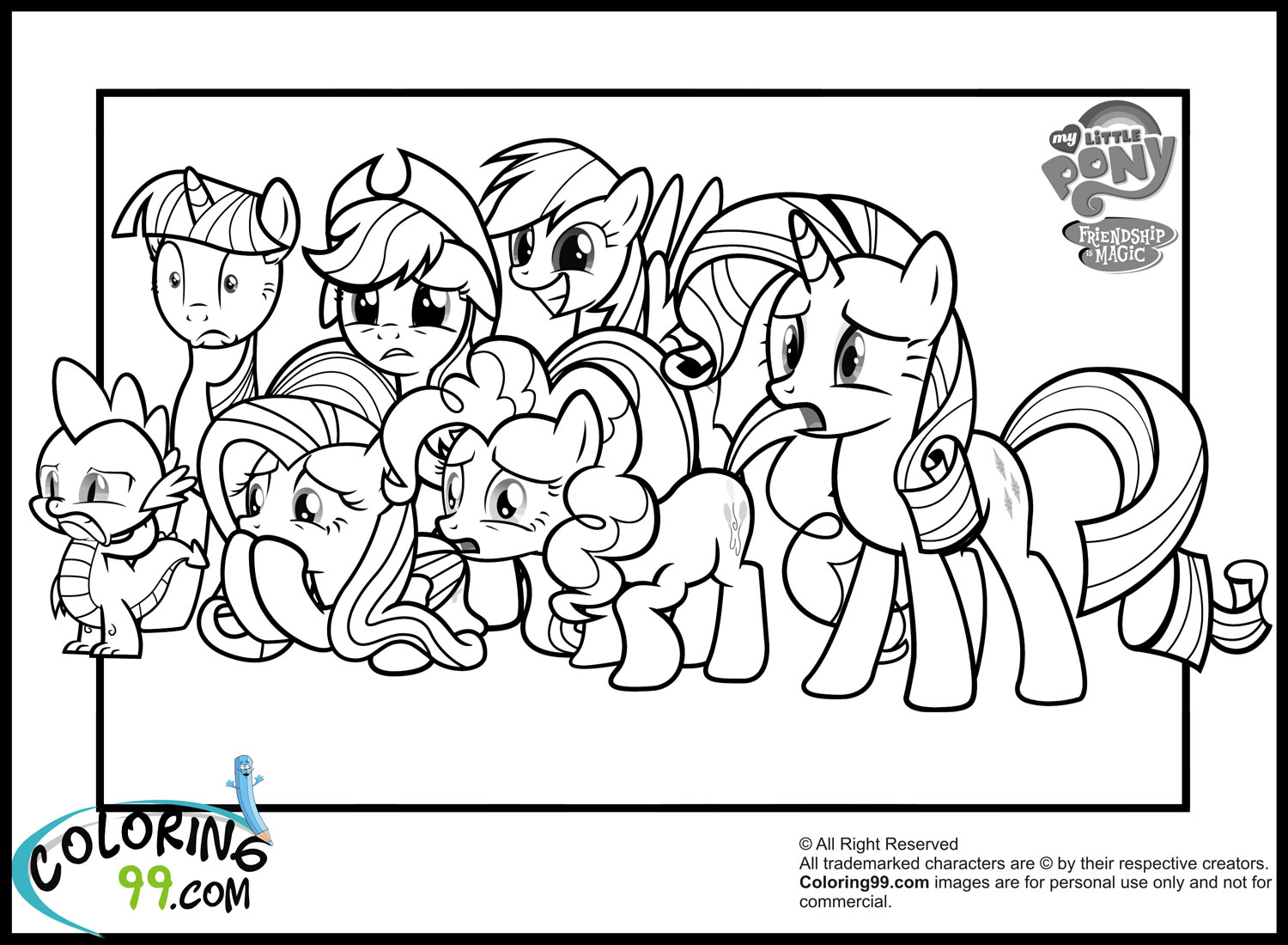 My Little Pony clipart colouring page On More for coloring ponies