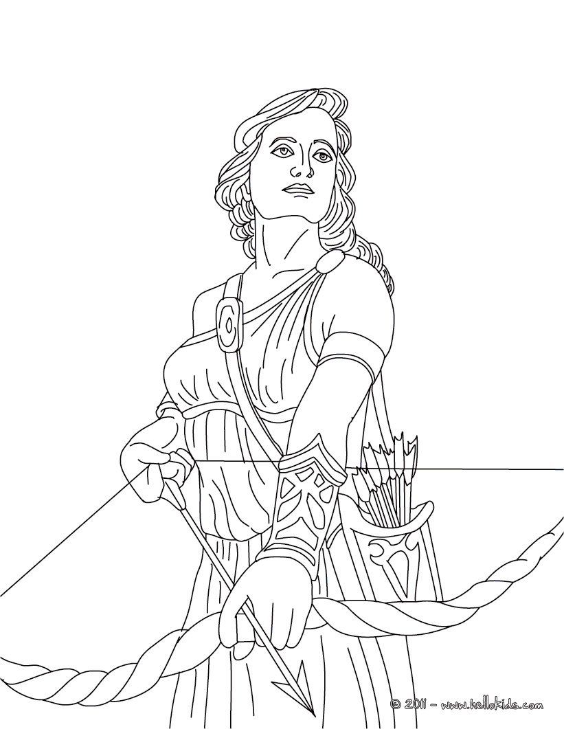 Mythology clipart artemis Greek coloring of the of