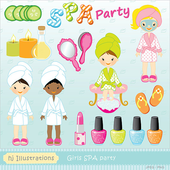 Nail clipart pamper party  design Ellie's digital SPA