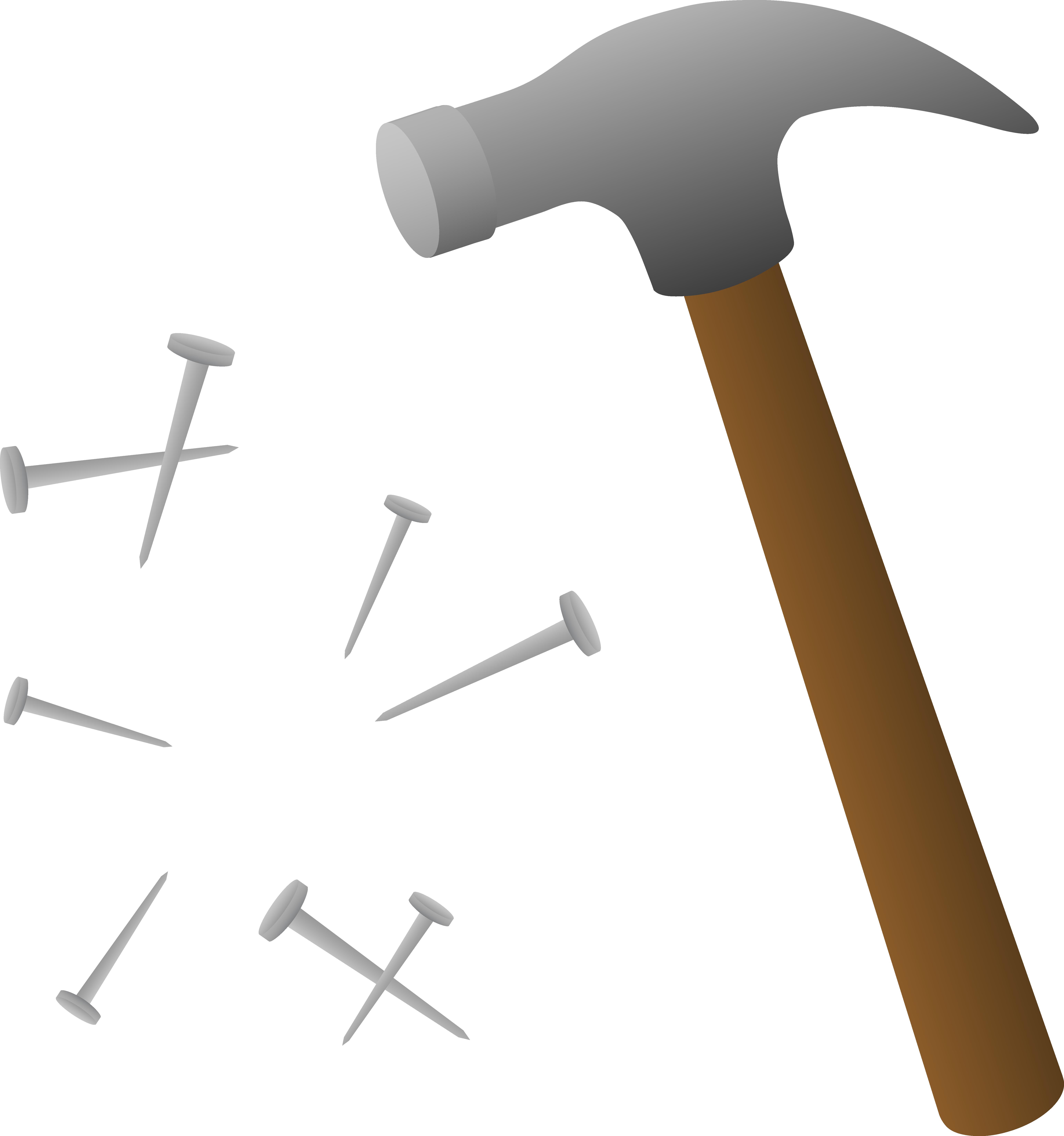 Nails clipart cartoon Hammer Nails Hammer Scattered Art